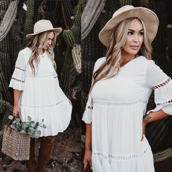 5506648eb Ivory Short Sleeve Eyelette White Boho Chic Dress